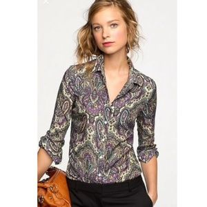 J. Crew Silk Purple Paisley Button Down Shirt M